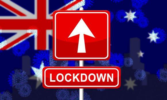 Australia lockdown to prevent coronavirus epidemic and outbreak. Covid 19 Australian precautions to lock down disease infection - 3d Illustration