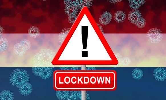 Netherlands lockdown to halt coronavirus epidemic or outbreak. Covid 19 Dutch precaution to lock down disease infection - 3d Illustration