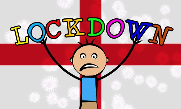 England kids lockdown preventing coronavirus spread or outbreak. Covid 19 English precaution to lock down children virus infection - 3d Illustration