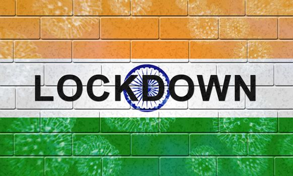 India lockdown to stop covid19 epidemic and outbreak. Covid 19 Indian precaution to isolate disease infection - 3d Illustration