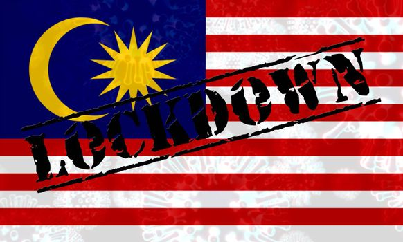 Malaysian lockdown stopping ncov epidemic or outbreak. Covid 19 Malaysia ban to isolate disease infection - 3d Illustration