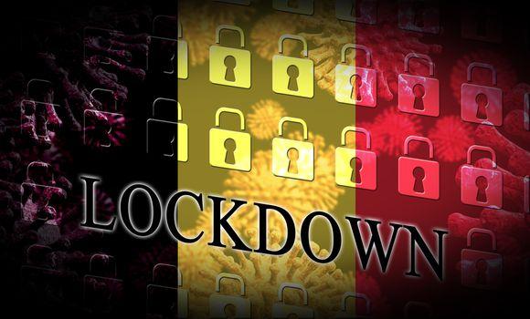 Belgium lockdown controlling coronavirus epidemic or outbreak. Covid 19 belgian restriction to lock down disease infection - 3d Illustration