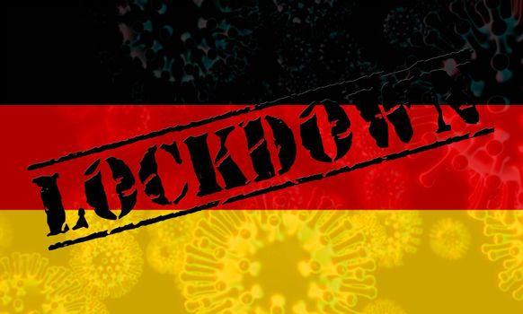 Germany lockdown to halt ncov epidemic or outbreak. Covid 19 German ban to isolate disease infection - 3d Illustration