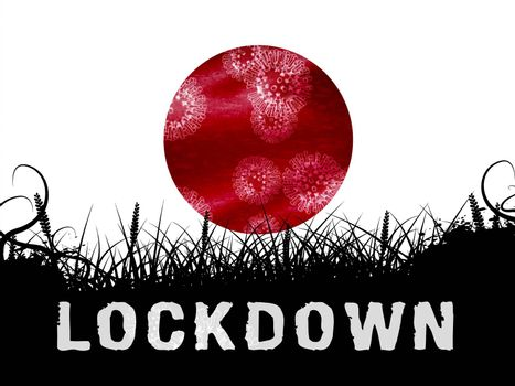 Japan lockdown slowing ncov epidemic or outbreak. Covid 19 Japanese ban to isolate disease infection - 3d Illustration