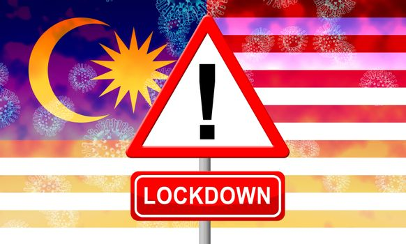 Malaysian lockdown to stop ncov epidemic or outbreaks. Covid 19 Malaysia ban to isolate disease infections - 3d Illustration