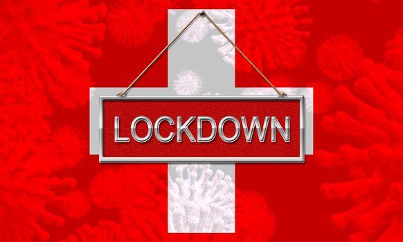 Swiss lockdown preventing coronavirus pandemic outbreak. Covid 19 Switzerland precaution to lock down disease infection - 3d Illustration