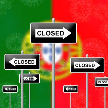 Portugal lockdown sign in solitary confinement or stay home. Portuguese lock down from covid-19 pandemic - 3d Illustration
