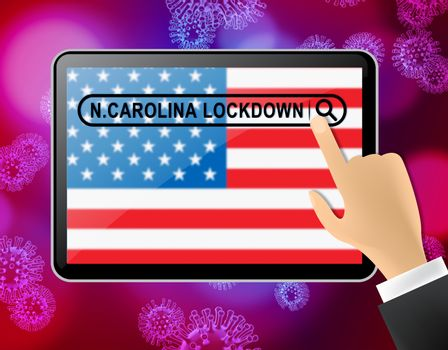 North Carolina lockdown means curfew from coronavirus covid19. NC solitary seclusion from covid-19 with stop home restriction - 3d Illustration