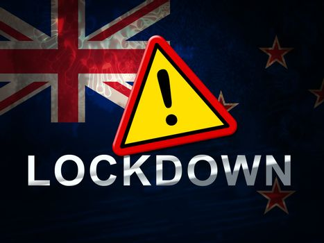 New Zealand lockdown sign against coronavirus covid-19. NZ Stay home order to enforce self isolation and stop infection - 3d Illustration