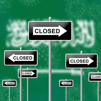 Saudi Arabia lockdown sign in solitary confinement or stay home. Arabian lock down from covid-19 pandemic - 3d Illustration