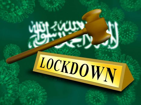 Saudi Arabia lockdown in solitary confinement or stay home. Arabian lock down from covid-19 pandemic - 3d Illustration