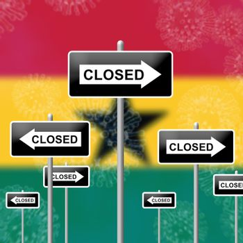 Ghana lockdown sign against coronavirus covid-19. Stay home order to enforce self isolation and stop infection - 3d Illustration