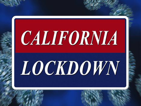 California lockdown means confinement from coronavirus covid-19. Californian solitary seclusion from virus with stay home restriction - 3d Illustration