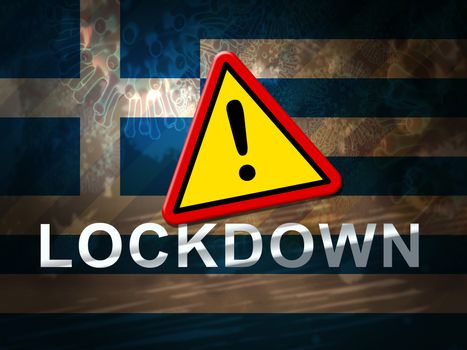 Greece lockdown against coronavirus covid-19. Greek stay home order to enforce self isolation and stop infection - 3d Illustration