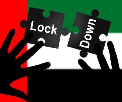 UAE lockdown in solitary confinement or stay home. United Arab Emirates lock down from covid-19 pandemic - 3d Illustration