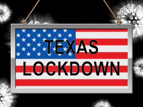 Texas lockdown means confinement from coronavirus covid-19. Texan solitary seclusion from covid19 with stay home restriction - 3d Illustration