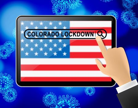 Colorado lockdown news means curfew from coronavirus covid19. CO solitary seclusion from covid-19 with stop home restriction - 3d Illustration