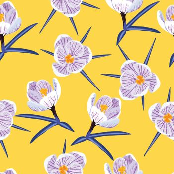 Vector hand-drawn seamless pattern with spring purple crocus on yellow background.
