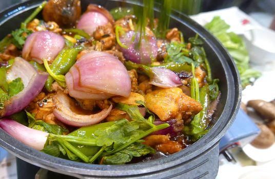 Chicken hotpot closeup
