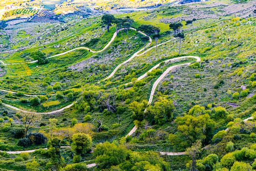 Sicily landscape of serpentine road