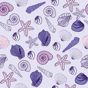 Vector Hand drawn seamless pattern with Seashells. Sea life Marine seamless pattern texture background. Perfect for invitations, greeting cards, posters, prints, banners.