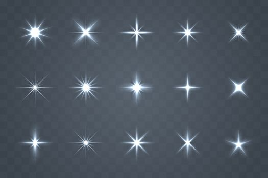 Luminous set design that glows. Sparkling stars with special light effects. Vector sparkling on a transparent background.