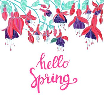 Vector Hand drawn Background with violet and pink fuchsia flowers and hello spring lettering for poster or postcard.