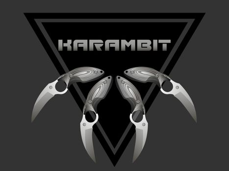 four realistic grey karambits with wooden handle in the black triangle