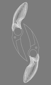 White contour sketch illustration of two karambits on grey background