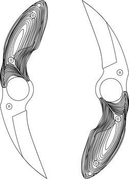Black contour sketch illustration of two tactical pocket knives karambits