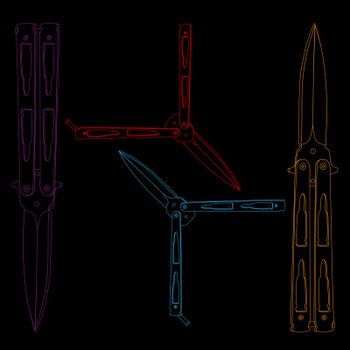 Colorful contour sketch illustration of four butterfly knives or balisongs on black background