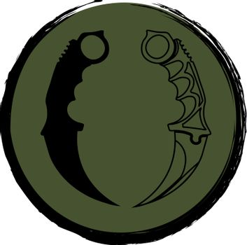 Icon with black contour and silhouette of karambits in the grunge khaki circle