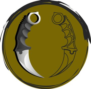 Icon with contour and realistic karambits in mustard circle with grunge frame