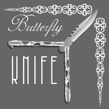 Realistic beautiful open silver balisong or butterfly knife with elegant lace border on grey background