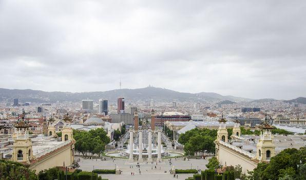 National Art Museum of Catalunya in Bancelona, Spain. Panorama of the beautiful europian city fron the Barcelona art museum in. Nice cityscape.