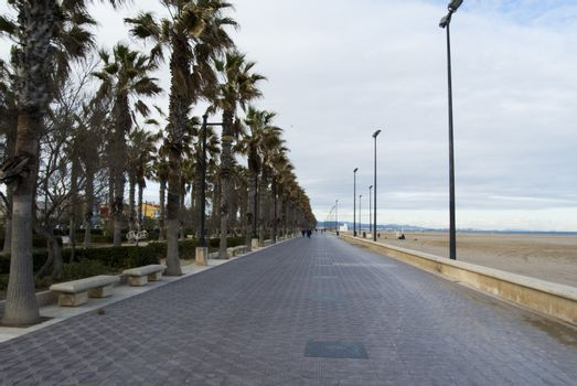The boulevard and seafront of Valencia, Spain. Empty street of Valencia.