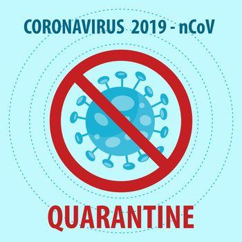 Covid-19 quarantine sign.  Vector