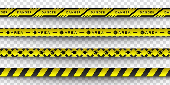 Set Vector design of corona virus danger warning in yellow and black stripes. Isolated with a transparent background. Limiting the area of virus, quarantine, lockdown. Biohazard sign.
