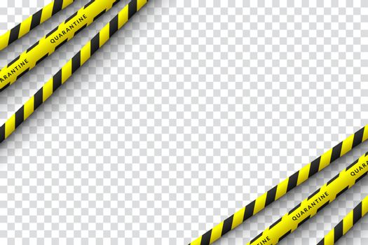 Vector design of corona virus danger warning in yellow and black stripes. Isolated with a transparent background. Limiting the area of virus, quarantine, lockdown. Biohazard sign.