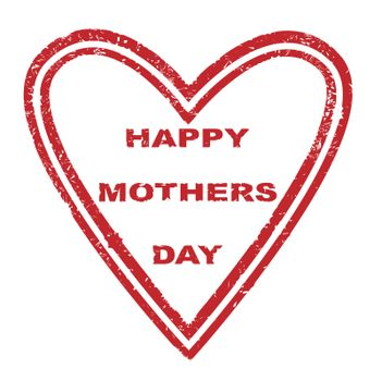 A subber stamp with the logo HAPPY MOTHERS DAY in the shape of a heart all isolated on a white background