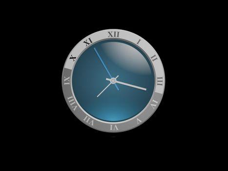 very nice clock on black background - 3d rendering