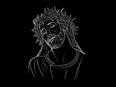 Very beautiful portrait of Jesus on a black background - 3d rendering