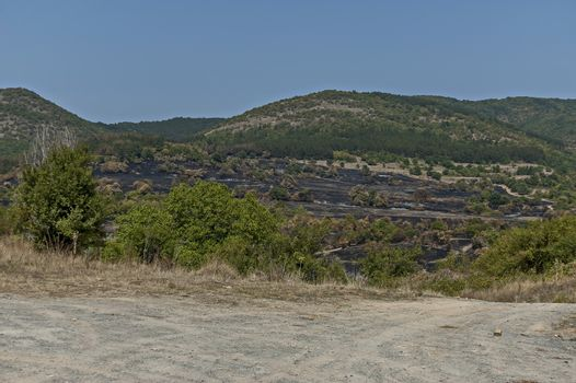 View of after forest fire in the Sredna gora mountain