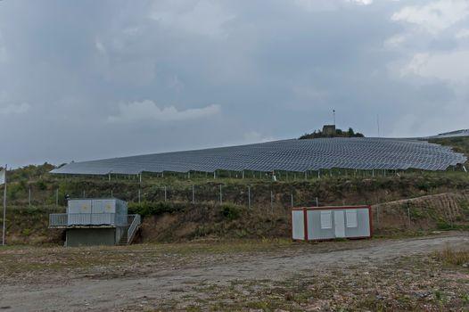 Solar energy panels against cloudily sky, Sredna gora mountain