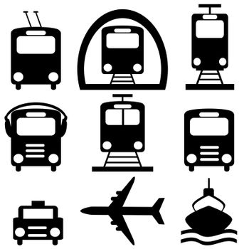 Collection of city transportation pictograms