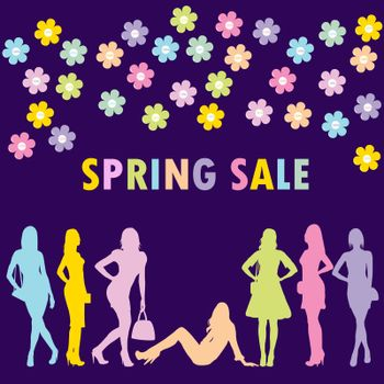 Spring sale concept with fashion women silhouettes