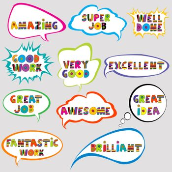 Set of speech bubbles with positive slogans