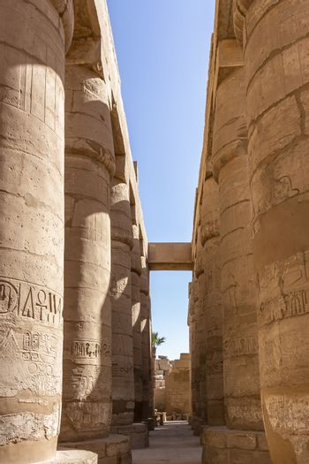 Columns of the The Great Hypostyle Hall begun by Seti I, and completed by Ramesses II, located within the Karnak Temple Complex