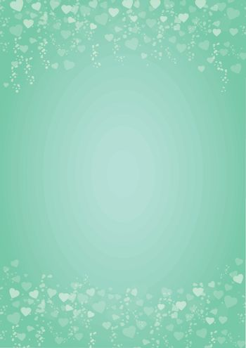 mint green background with hearts header and footer