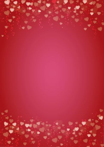 Vertical red background with hearts header and footer